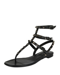 Valentino Rockstud Leather Gladiator Sandal Black Nero