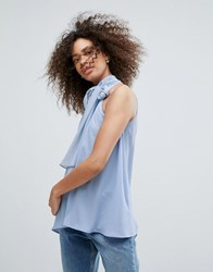 Traffic People High Neck Top With Bow Detail Blue