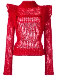 Philosophy Di Lorenzo Serafini Ruffle Shoulder Jumper Red