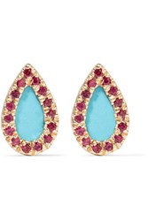 Adina Reyter 14 Karat Gold Turquoise And Ruby Earrings Red