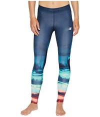 New Balance Impact Premium Print Tights Placed Waves Pigment Women's Workout Placed Waves Pigment
