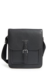 Men's Ted Baker London 'Paristo' Leather Messenger Bag Black