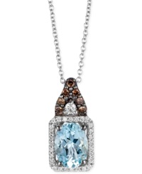Le Vian Aquamarine 1 Ct. T.W. And Diamond 1 5 Ct. T.W. Square Pendant Necklace In 14K White Gold Blue