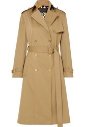 Versace Paneled Double Breasted Gabardine Trench Coat Beige
