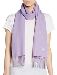 Yves Saint Laurent Wool And Cashmere Scarf Lavender