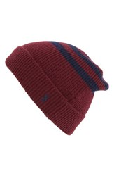Polo Ralph Lauren Men's Rugby Stripe Beanie Red Classic Wine French Navy