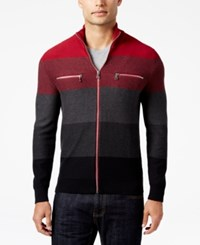 Inc International Concepts Men's Copperfield Striped Zip Front Sweater Only At Macy's Bright Rhubarb