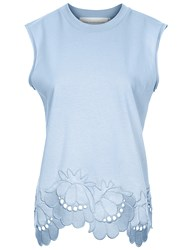 Victoria Beckham Powder Blue Delft Embroidered Sleeveless Top