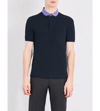 Armani Collezioni Stretch Cotton Polo Shirt Navy