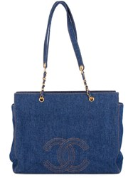 Chanel Vintage Jumbo Xl Denim Shopper Tote Blue