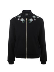 Markus Lupfer Navy Ditsy Daisy Embroidered Bomber Jacket Black
