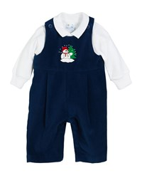 Florence Eiseman Snowman Twill Velvet Overalls W Solid Long Sleeve Polo Shirt Size 3 24 Months Blue