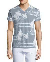 Sol Angeles Palm Breeze V Neck Graphic Tee Light Gray Blue