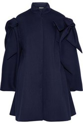 Delpozo Bow Embellished Neoprene Coat Midnight Blue