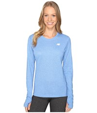 New Balance Heathered Long Sleeve Shirt Majestic Heather Women's Long Sleeve Pullover Blue