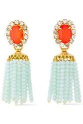 Elizabeth Cole Woman 24 Karat Gold Plated Crystal Stone And Beaded Tassel Earrings Orange