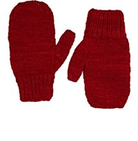 The Elder Statesman Women's Brushed Cashmere Mittens Red