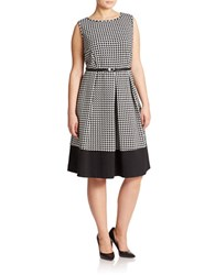 Calvin Klein Plus Pleated Fit And Flare Dress Black Cream