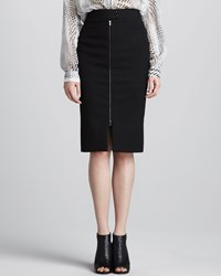 L'agence Front Zip Pencil Skirt Black