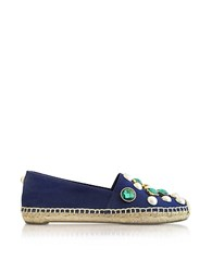 Tory Burch Vail Navy Sea Canvas Flat Espadrilles W Crystals Navy Blue