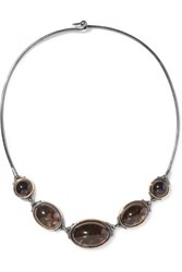 Bottega Veneta Oxidized Sterling Silver Quartz Necklace Silver Brown