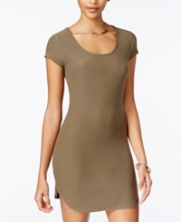 Planet Gold Juniors' Bodycon T Shirt Dress Olive
