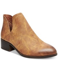 Madden Girl Zavier Chop Out Ankle Booties Women's Shoes Cognac