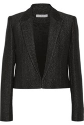 Iro Toni Cropped Metallic Wool Blend Blazer Black
