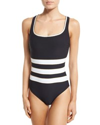 Gottex Regatta Striped One Piece Swimsuit Black White Gold
