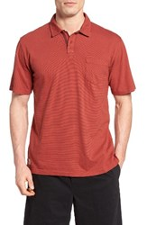 Quiksilver Men's Waterman Collection Strolo 6 Pocket Polo Red Ochre