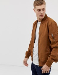 French Connection Faux Suede Baseball Jacket Brown