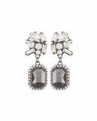 Lydell Nyc Crystal And Simulated Pearl Double Drop Earrings Multi