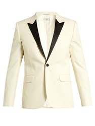 Saint Laurent Satin Lapel Single Breasted Dinner Jacket White Multi