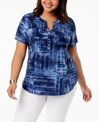 Ny Collection Plus Size Pintucked Jacquard Top Blue Mazerun