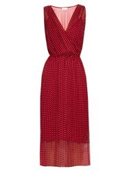 Raey Polka Dot Print Silk Chiffon Dress Red