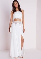 Missguided Lace Front Maxi Skirt White White