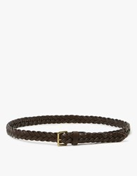 Caputo And Co. Slim Braided Leather Belt In T.Moro
