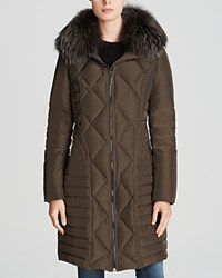Maximilian Quilted Down Coat With Fox Wing Collar Khaki