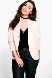 Boohoo Plus Cate Relaxed Pocket Blazer Nude