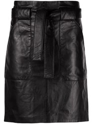 Anine Bing Laurie Tie Waist Mini Skirt Black