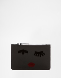 Lulu Guinness Emily Face Satin Make Up Bag