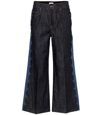 Red Valentino Wide Leg Cropped Jeans Blue