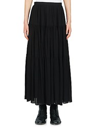 Saint Laurent Long Tiered Peasant Skirt Black