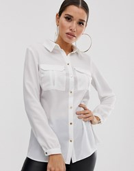 Lipsy Utility Shirt With Pocket In White