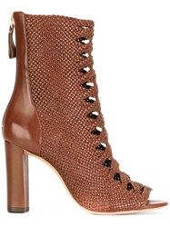 Alexandre Birman Open Toe Ankle Boots Brown