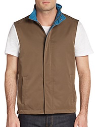 Saks Fifth Avenue Reversible Stand Collar Vest Khaki Teal