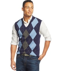 Club Room Cotton Argyle Vest Only At Macy's Navy Blue