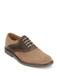 G.H. Bass Parker Textured Lace Up Oxfords Taupe Chocolate