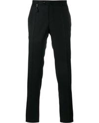 Incotex Tailored Wool Trousers Black Silver White Orange