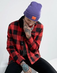 Asos Patch Beanie In Bright Purple With Orange Patch Purple
